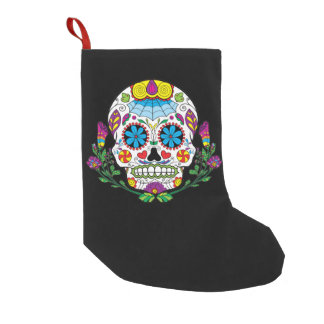 Colored Flowers Mexican Tattoo Sugar Skull Small Christmas Stocking