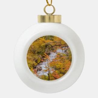 Colored Forest Landscape Scene, Patagonia Ceramic Ball Christmas Ornament