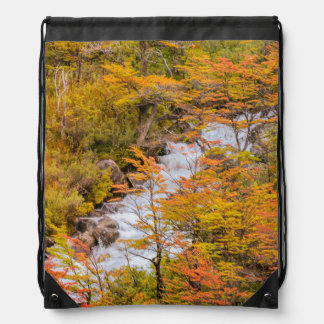 Colored Forest Landscape Scene, Patagonia Drawstring Bag