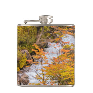 Colored Forest Landscape Scene, Patagonia Hip Flask