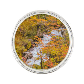 Colored Forest Landscape Scene, Patagonia Lapel Pin