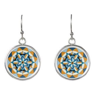 Colored Geometric Floral Mandala 060517_2 Earrings