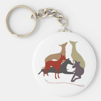 colored greyhounds key ring