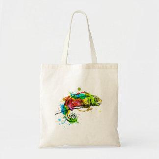 Colored hand sketch chameleon tote bag