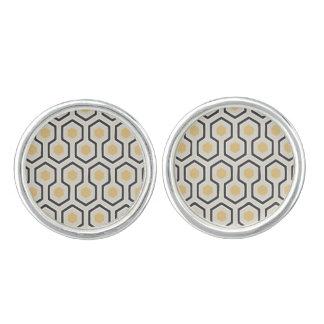 Colored Honeycomb Grid Pattern Cufflinks