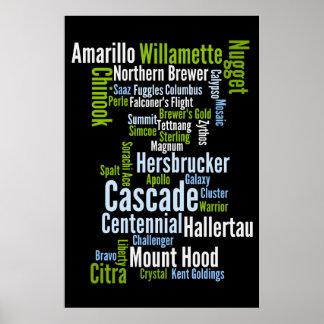 Colored Hop Varieties Poster