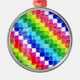 Colored In Graph Paper Squares Metal Ornament