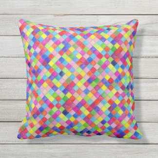 Colored In Graph Paper Squares Throw Pillow