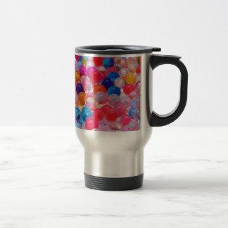 colored jelly balls texture travel mug