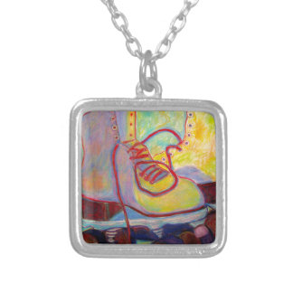 Colored Light all over my Skates Silver Plated Necklace
