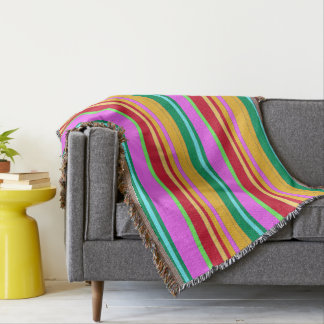 Colored Lines Throw Blanket 1-a
