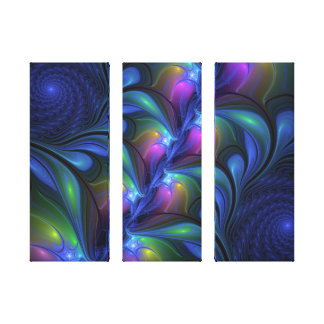 Colored Luminous Abstract Blue Pink Green Triptych Canvas Print