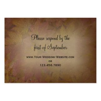 Colored Maple Leaves Wedding RSVP Response Card Pack Of Chubby Business Cards