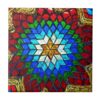 Colored mosaic art tile