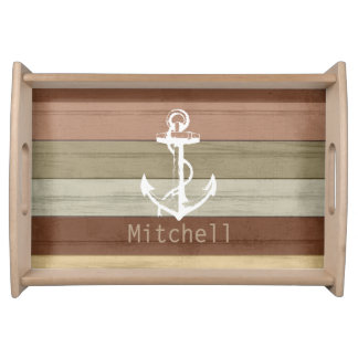 Colored Nautical Weathered Wood Anchor Serving Tray