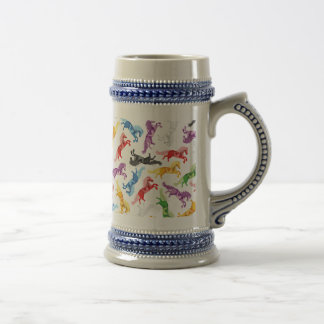Colored Pattern jumping Horses Beer Stein