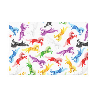 Colored Pattern jumping Horses Canvas Print