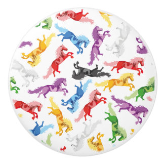 Colored Pattern jumping Horses Ceramic Knob