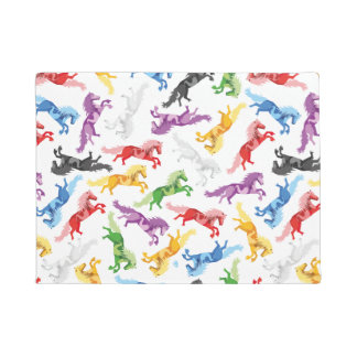 Colored Pattern jumping Horses Doormat