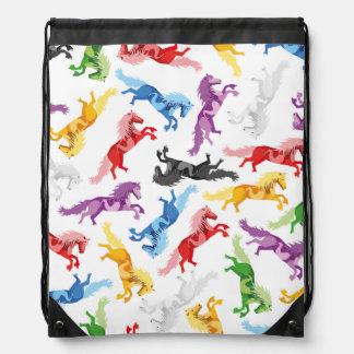 Colored Pattern jumping Horses Drawstring Bag