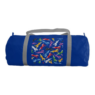 Colored Pattern jumping Horses Gym Bag