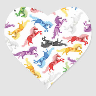 Colored Pattern jumping Horses Heart Sticker