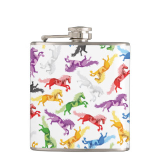 Colored Pattern jumping Horses Hip Flask