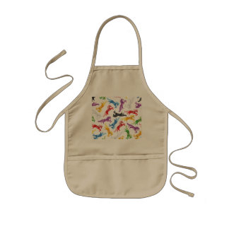 Colored Pattern jumping Horses Kids Apron