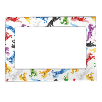 Colored Pattern jumping Horses Magnetic Picture Frame