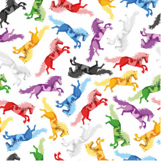 Colored Pattern jumping Horses Photo Sculpture Badge