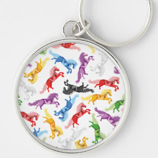 Colored Pattern jumping Horses Silver-Colored Round Key Ring