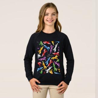 Colored Pattern jumping Horses Sweatshirt