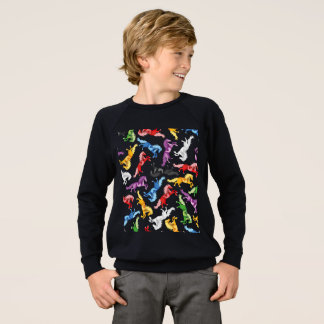 Colored Pattern jumping Horses Sweatshirt