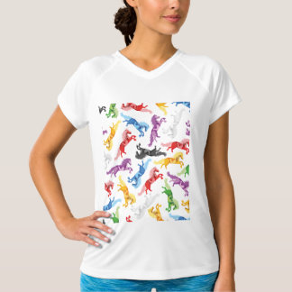 Colored Pattern jumping Horses T-Shirt