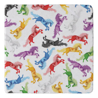 Colored Pattern jumping Horses Trivet