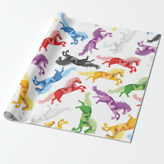 Colored Pattern jumping Horses Wrapping Paper