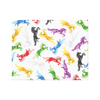 Colored Pattern Unicorn Canvas Print