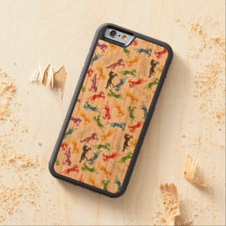 Colored Pattern Unicorn Carved Cherry iPhone 6 Bumper Case