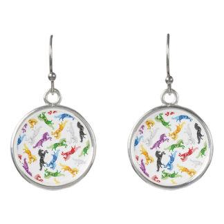 Colored Pattern Unicorn Earrings