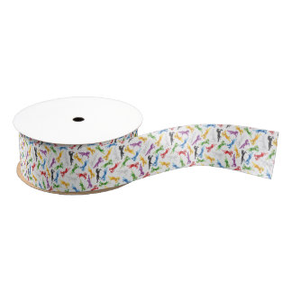 Colored Pattern Unicorn Grosgrain Ribbon