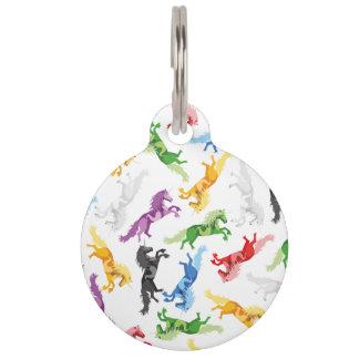 Colored Pattern Unicorn Pet ID Tag