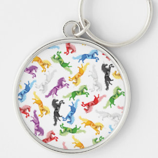 Colored Pattern Unicorn Silver-Colored Round Key Ring