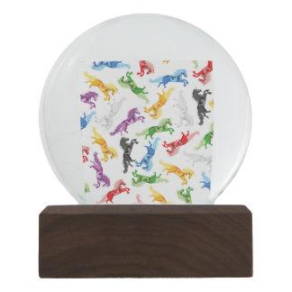 Colored Pattern Unicorn Snow Globe
