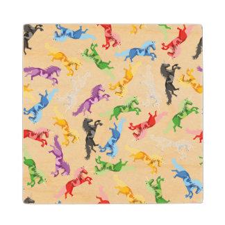 Colored Pattern Unicorn Wood Coaster
