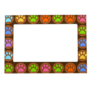 Colored Paws Magnetic Picture Frame