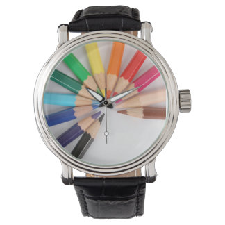 Colored Pencil Color Wheel Watch with black band