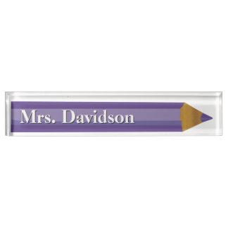 Colored Pencil Teacher's Custom Desk Nameplate