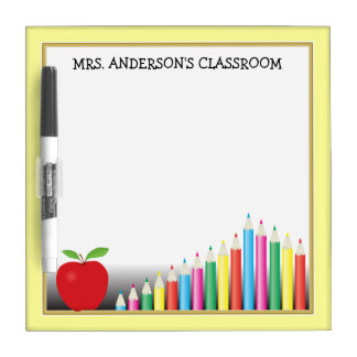 Colored Pencils & Apple Teacher Dry Erase Board