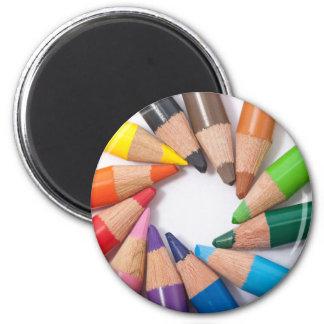Colored pencils circle refrigerator magnet