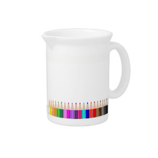 Colored pencils in a row pitcher